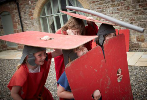 Children play at being Romans at Hadrian's Wall visitor centre