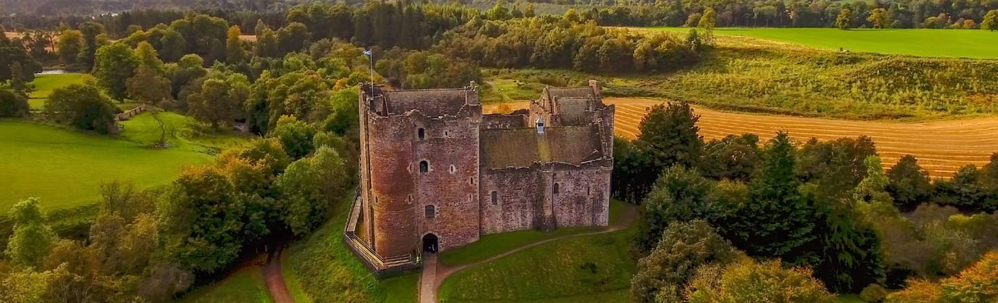 Medieval Doune Castle and the surrounding countryside seen from above