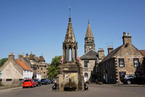 The centre of Falkland is dominated by the ornate Bruce Fountain