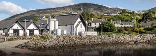 Extewrior view of the Isle of Harris Distillery in the village of Tarbert
