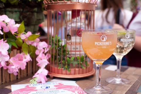 Two glasses of Pickerings gin being served at Summerhall Distillery visitor centre