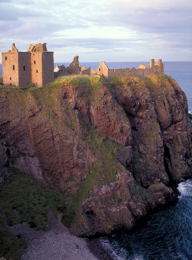 Cliff-top Dunottar Castle overlooking the North Sea