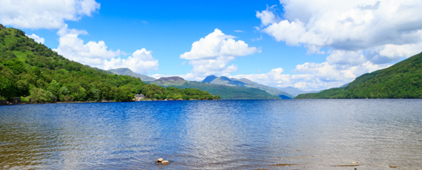 The mountains of the Arrochar Alps seen from the shores of Loch Lomond