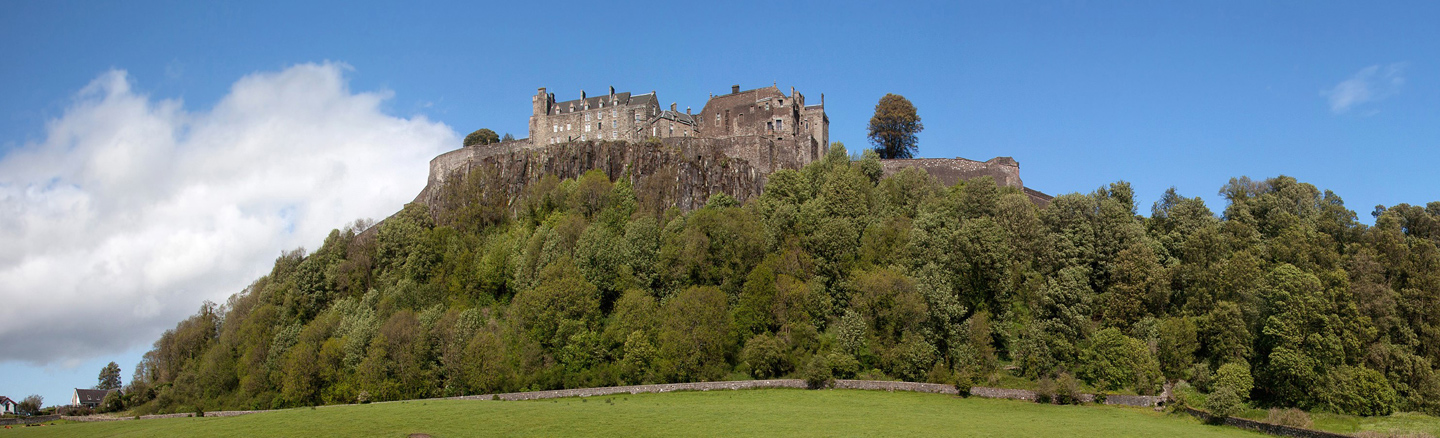 Stirling Castle sits on a volcanic core overlooking the city and surrounding countryside