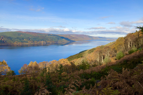 Tree clad hills sweep down to the shores of Loch Ness