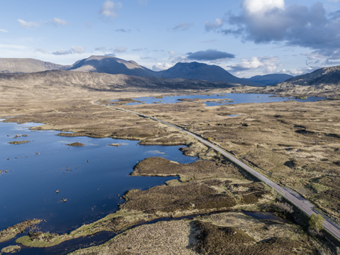 Ariel scene of the road crossing the lochans and marsh-land of Rannoch Moor