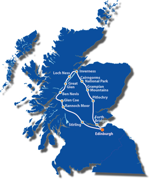 Map of Scotland showing the route of the Loch Ness and the Highlands Tour
