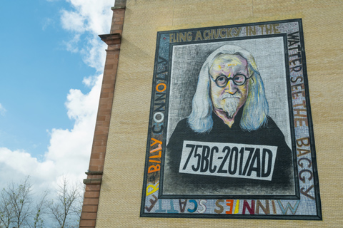 Mural of the popular Glasgow comedian Billy Connolly