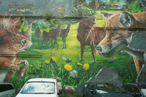 A mural depicting the animals that can be found around Glasgow including squirrels, foxes and deer