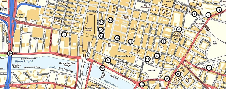 Map showing the Glasgow Mural Trail locations in the city centre