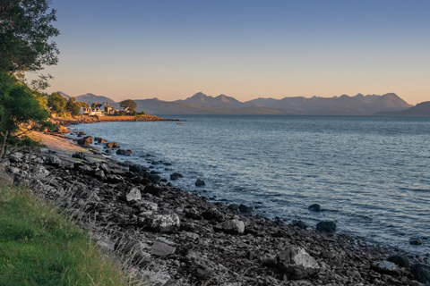 Cuillin Hills seen from Applecross Village across the Inner Sound