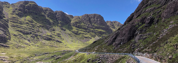 The Bealach na Ba mountain pass winds its way through the Applecross Hills