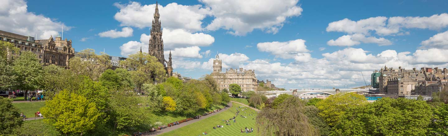 Princes Street Gardens looking towards the Scott Monument and Princes Street