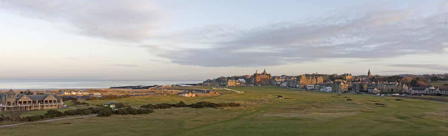 Panorama of the Old Course St Andrews looking towards the 18th fairway