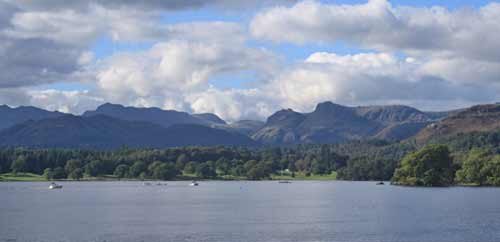 Blue water of Lake Windermere with mountains in the background