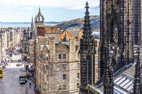 Looking down the Lawnmarket and Royal Mile from the spire of The Hub