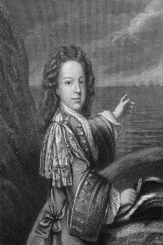 A black and white drawing of Bonnie Prince Charlie wearing a wig and pointing at sailing ships in the distance