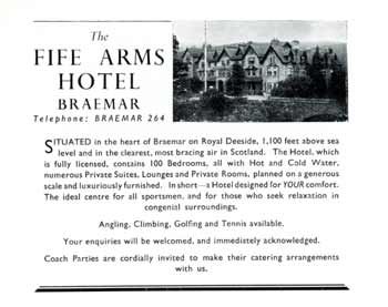 An advert for the Fife Arms Hotel in Ballater