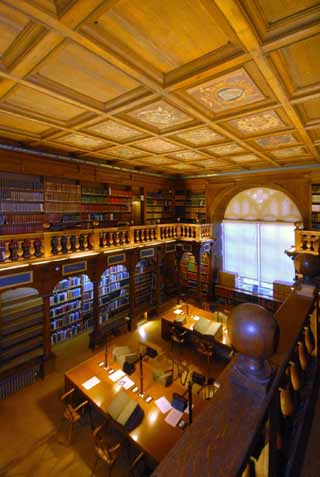 Looking down towards the reading desks in the Bodleian Library, Oxford