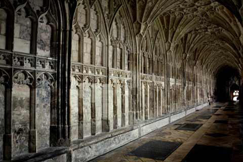 Intricate carvings are seen in The Cloisters of Lacock Abbey