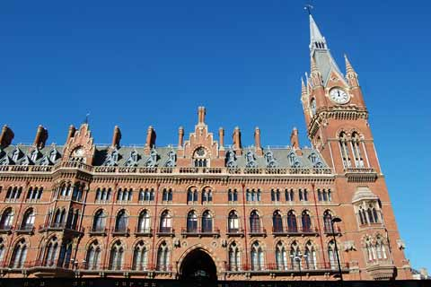 The new-gothic architecture of St Pancras Station