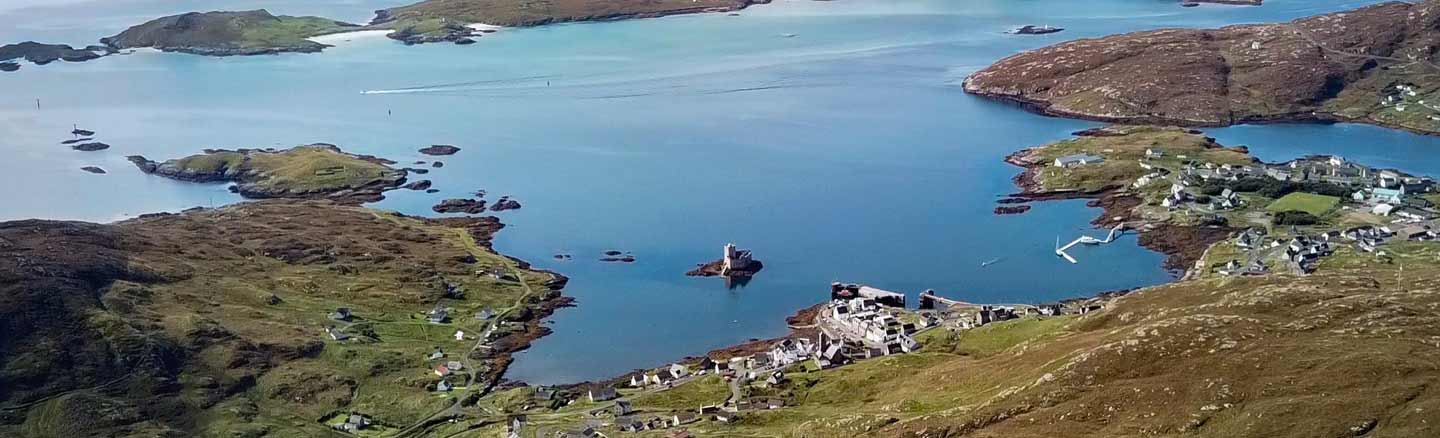 Birds Eye view of Kisimul Castle and Castlebay Isle of Barra