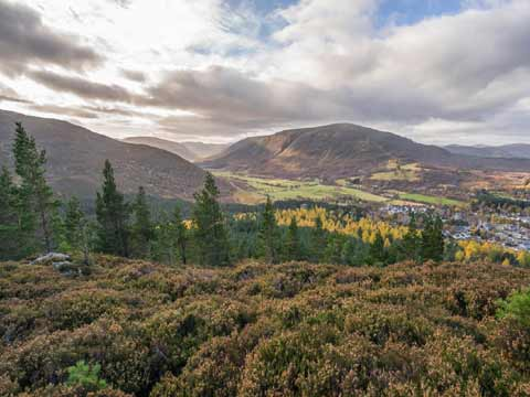 Braemar seen from heather clad hills