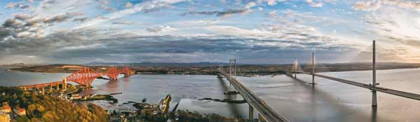 Panoramic view of the three bridges spanning the Firth of Forth