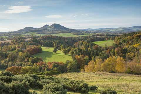 Eildon Hills seen from the Scotts View Viewpoint