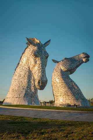 The Kelpies Horse Head statues seen at Helix Park