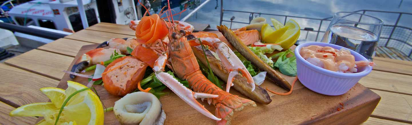 A selection of seafood posed by the harbour at Kirkwall Orkney