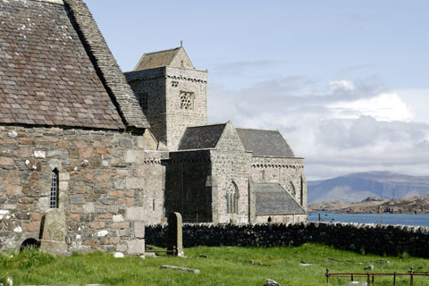 The gravestones of the ancient Kings of Scotland buried in the Reilig Orain next to Iona Abbey