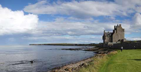 Ackergill Tower on the shores of Sinclair's Bay near Wick