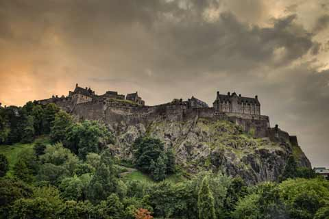 Edinburgh Castle seen atop its volcanic core