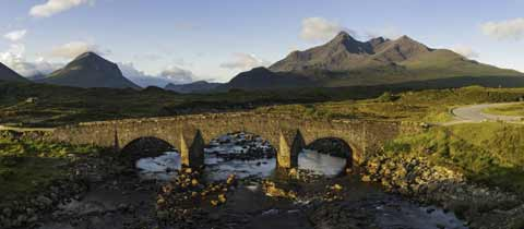 Sligachan Bridge with the Cuillin Hills as a backdrop