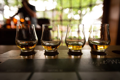 A selection of four whiskies for a tasting are arranged on a bar