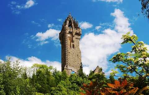 Towering Wallace Monument atop Abbey Craig