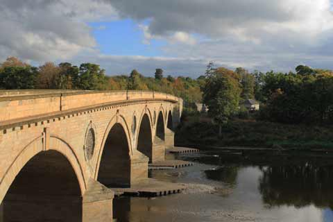 The handsome Coldstream Bridge spanning the River Tweed