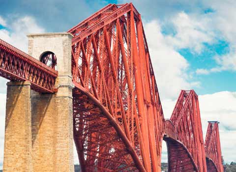 The mighty Forth Rail Bridge spanning the Firth of Forth