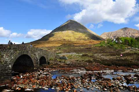 The Sligachan Bridge with the Cuillin Mountains as a backdrop