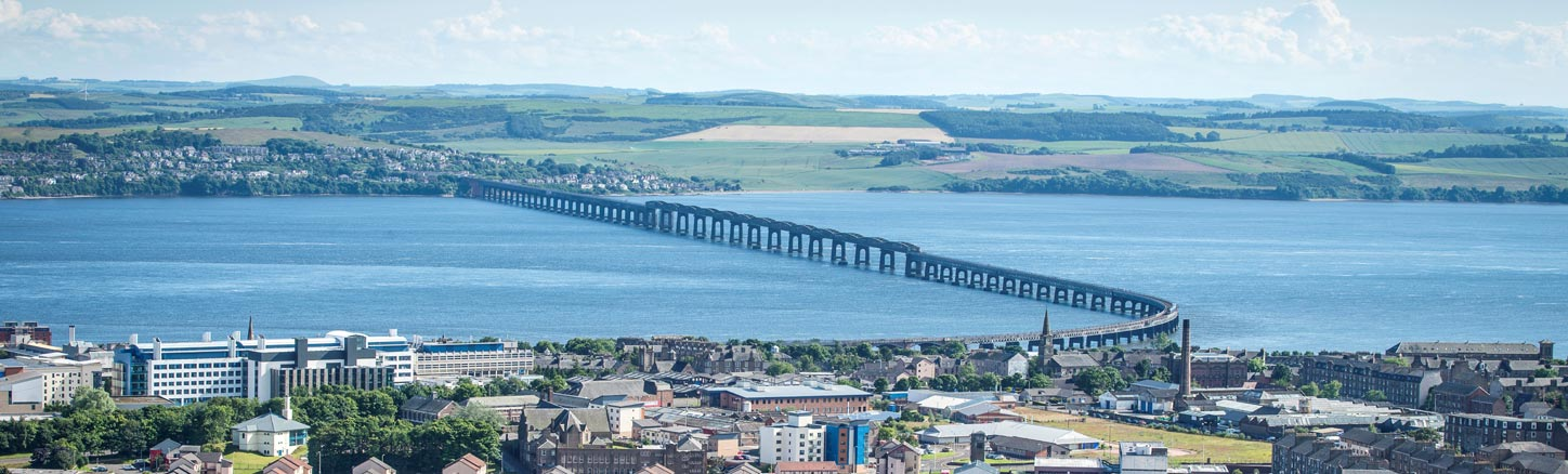 Rail Bridge spanning the River Tay from Dundee
