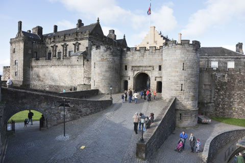 Visitors entering the inner courtyard of Stirling Castle