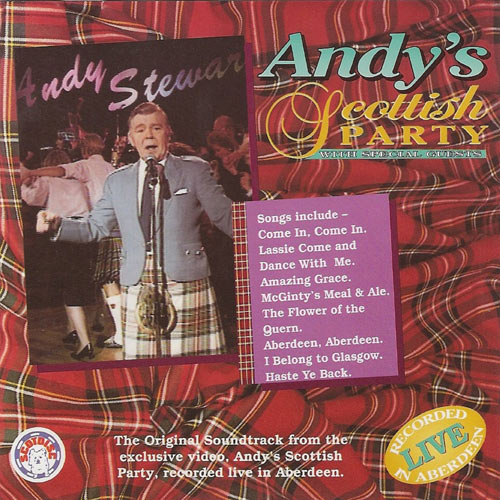 Promotional image for video of Andy Stewart wearing kilt and jacket on red tartan background