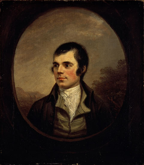 Head and shoulders portrait of Robert Burns wearing white collared shirt and dark jacket in frame