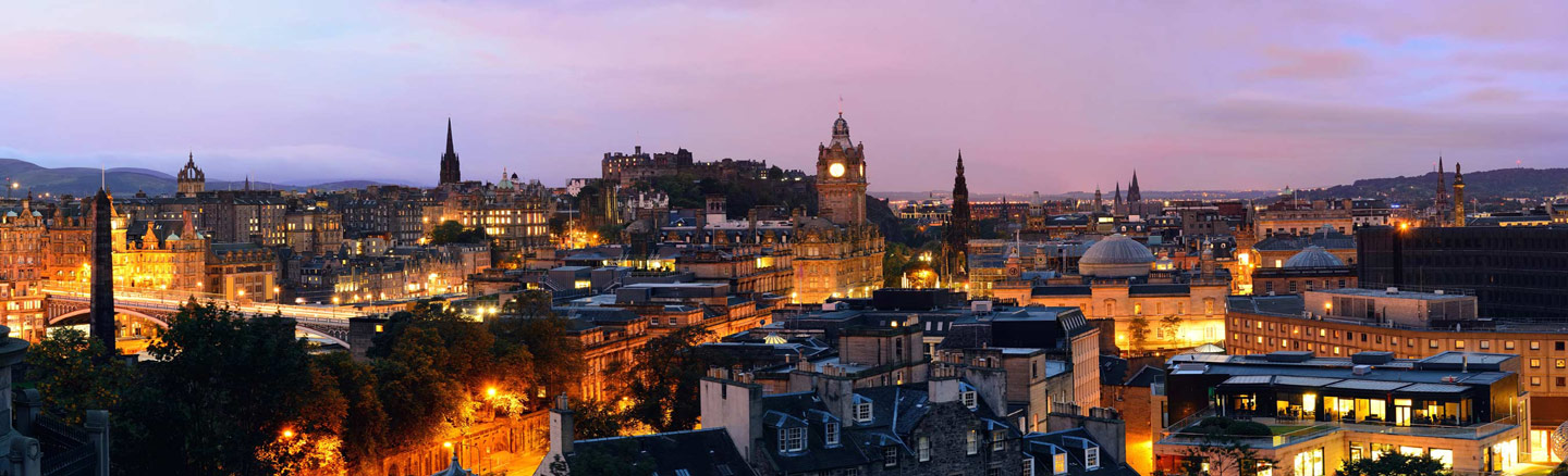 Edinburgh Skyline at night towards Edinburgh Castle and Princes Street