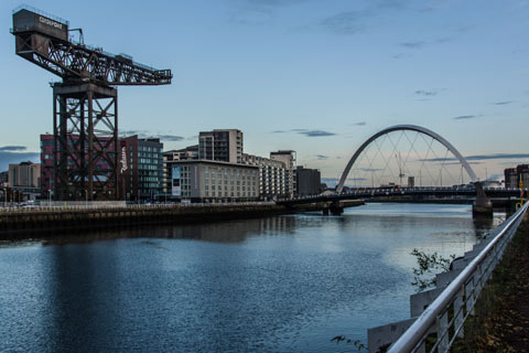 Finnieston Crane and Clyde Arc Bridge at waterfront in Glasgow