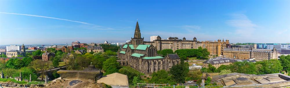 Panoramic view of Glasgow with Glasgow Cathedral in the centre