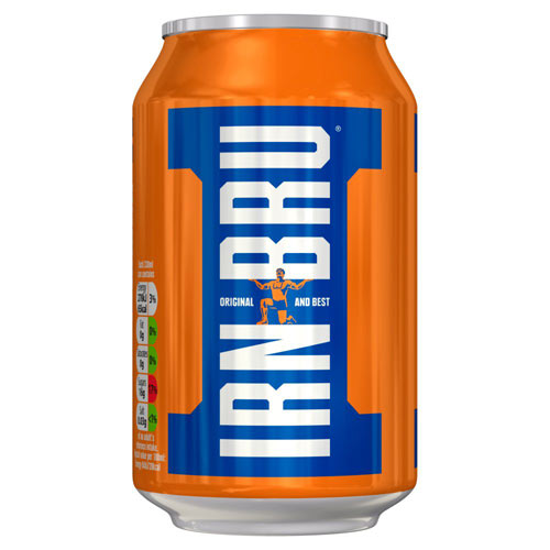 A tin can of Irn Bru with the distinctive orange background and white on blue lettering