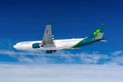 Aer Lingus plane in flight  with blue sky and light clouds