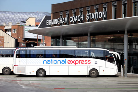 National Express coach parked in bay at Birmingham Coach Station